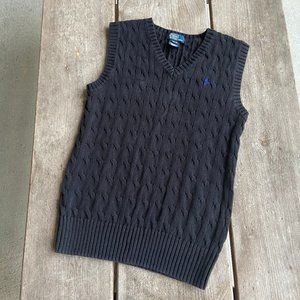 Polo Ralph Lauren Black Cableknit Sweater Vest Med